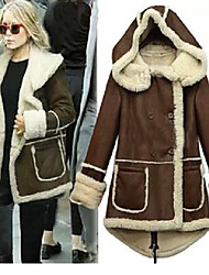 Winter  Women's Solid Color Brown Coats & Jackets , Sexy / Casual / Work Tailored Collar Long Sleeve
