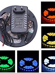 Z®zdm 5m 150x5050 smd tira luz y conector y ac110-240v a dc12v3a us au eu uktransformer (variedad de colores)