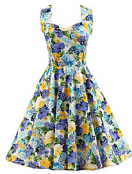 Women's Blue Floral Dress , Vintage Halter 50s Rockabilly Swing Dress