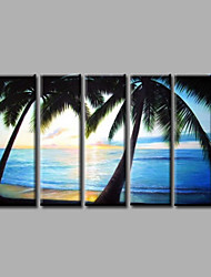 Ready to Hang Stretched Hand-Painted Oil Painting Canvas Wall Art Seascape Coco Trees Waves Beach Modern Five Panels