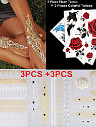 3PCS Colorful Tattoos+ 3PCS Flash Tattoo Gold Tattoo Flash Taty Tatoo Tatouage Temporary Tattoo Sticker Metallic Tattoo