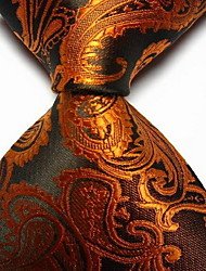 Men Wedding Cocktail Necktie At Work Black Gold Flower Tie