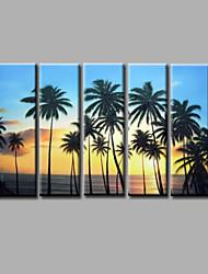 Ручная роспись Пейзаж / Абстрактные пейзажиModern 5 панелей Холст Hang-роспись маслом For Украшение дома