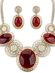 Jazlyn® Vintage Royal Court Luxury Gemstone  Women's Party Necklace Earrings Set Jewelry Set for Gift