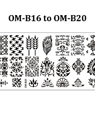 5pcs 12cmX6cm Nail Art Stamping Plates Creative Design Polish Print Manicure Template Tools (OM-B16 to OM-B20)