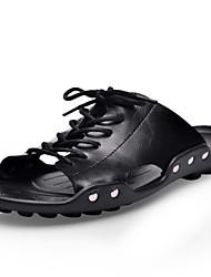 Chinelos de homem&Flip-flops primavera verão queda conforto couro ao ar livre escritório&Sapatas pretas da água do vestido da