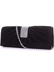 Women Satin Minaudiere Clutch / Evening Bag - Beige / Pink / Gold / Silver / Black