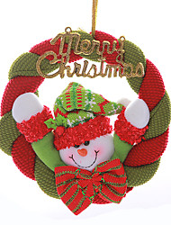 "8"" Merry Christmas Wreath Santa Claus Snowman Hanging Xmas Tree Decoration"
