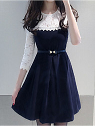 Women's Solid Blue Dress , Sexy / Lace Round Neck Long Sleeve