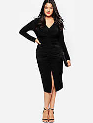 Women's Sexy Bodycon / Loose Dress,Solid V Neck Knee-length Long Sleeve Black Spandex Fall