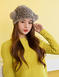 Women Cute Rabbit Fur  Hats with Pompon LD00084