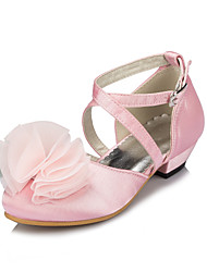 Girl's Flats Spring / Summer / Fall / Winter Round Toe Silk Outdoor / Casual Satin Flower / Flower Pink