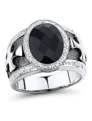Men's Fashion Sterling Silver set with Black Onyx and Diamond Ring