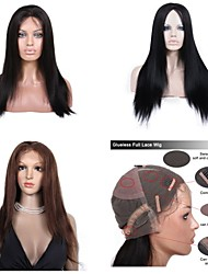 Premierwigs New 8A 8''-26'' Yaki Straight Brazilian Virgin Glueless Full Lace Human Hair Wigs Glueless Lace Front Wigs