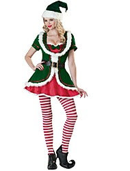 Extravagant Polyester Green Long Sleeve Sexy Women's Christmas Costume(Dress+Hat+Belt+Socks)