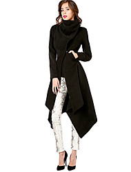 PLIO  Women's Solid Color Black Coats & Jackets , Vintage / Casual / Party / Work V-Neck Long Sleeve