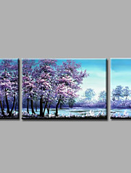 Ready to Hang Stretched Hand-Painted Oil Painting Canvas Wall Art Forest Trees Purple Modern Three Panels