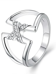 Ring Fashion Party Jewelry Silver Plated Women Statement Rings 1pc,One Size Silver