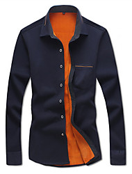 Men's Shirt Collar Casual Shirts , Cotton Blend Long Sleeve Casual Pocket Fall Iota