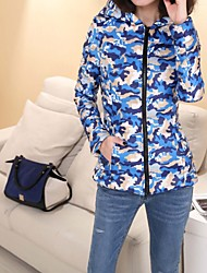 Women Camouflage copy down long sleeve hooded cotton dress