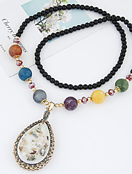 Fashion Color Shell Droplet Pendant Bead Necklace