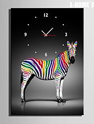 E-HOME® Colored Zebra Clock in Canvas 1pcs