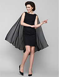 Lanting Sheath/Column Mother of the Bride Dress - Black Knee-length Sleeveless Chiffon