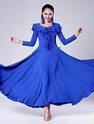 Imported Nylon Viscose with Ruffles Ballroom Dance Dresses for Women's Performance (More Colors)