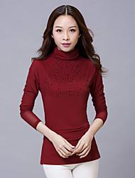 Spring  Women's Sexy Gauze Long Sleeved Slim Bottoming Turtleneck T Shirt Red / Black / Purple Blouse Tops