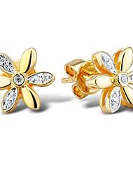 Women's Flower Shape Sterling Silver set with Cubic Zirconia Earrings