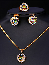 KPOP Cute Luxury AAA Cubic Zirconia Hearts Pendant Earrings Ring Set 18K Gold Platinum Plated for Women High Quality