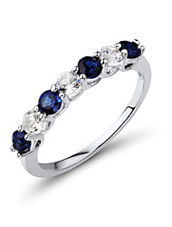 Women's Classic Sterling Silver set with Create Sapphire Band Ring