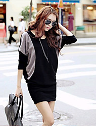 Women's Patchwork Black Dresses , Sexy Round Long Sleeve