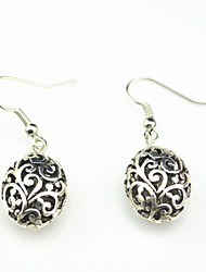 Vintage Look Antique Silver Plated Oval Flower Alloy Dangle Drop Earring(1Pair)