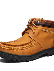 Men's Shoes Outdoor / Party & Evening / Casual Leather Boots Yellow / Khaki(Manual manufacture)