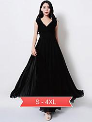 vestido de corte imperio con cuello en V sin mangas de gasa maxi de las mujeres más el tamaño s-3xl