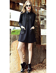 Women's Solid Black Dress , Casual Shirt Collar Long Sleeve