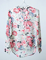 Lady's V-neck Long Sleeve Flower Print Chiffon Blouser, Spring, Summer and Autumn