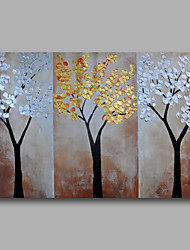 Ready to Hang Stretched Hand-Painted Oil Painting Canvas Wall Art Abstract Flowers Golden Silver One Panel