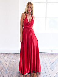 Women's Solid Red Dress , Sexy Halter Sleeveless