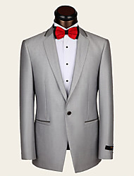 Suits Standard Fit Notch Single Breasted One-button Wool Solid 2 Pieces Light Gray
