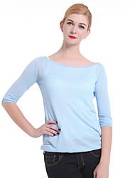 Damen Standard Pullover Retro Solide Rosa Rundhalsausschnitt ¾-Arm Baumwolle Leinen Andere Herbst Dünn Mikro-elastisch
