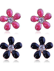 Earring Flower Stud Earrings Jewelry Women Party / Daily / Casual Crystal / Gold Plated 1set
