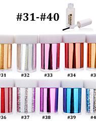 10pcs Nail Art Transfer Foil Polish Sticker Paper with 1pcs Nail Foil Adhesive Glue (#31-#40)
