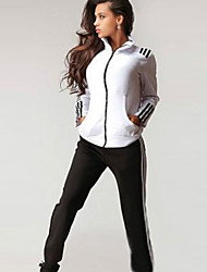 Women's Casual/Daily Simple Fall Set,Striped Stand Long Sleeve Multi-color Polyester Opaque