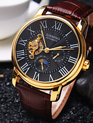 Men's Business Round Rome Number Dial Mineral Glass Mirror Genuine Leather Band Mechanical Waterproof Watch Wrist Watch Cool Watch Unique Watch