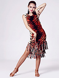 Imported Nylon Viscose with Tassels Latin Dance Dresses for Women's Performance (More Colors)