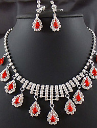 Lucky Doll Women's 925 Silver Plated Gemstone & Crystal Zirconia Long Tassel Water Drop Necklace & Earrings Jewelry Sets