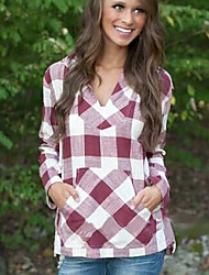 Unni Women's Plaid Multi-color Casual Shirts , Casual V-Neck Long Sleeve