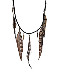 Women's Pendant Necklaces Statement Necklaces Leather Feather Leaf Fashion Brown Jewelry Party Daily Casual 1pc